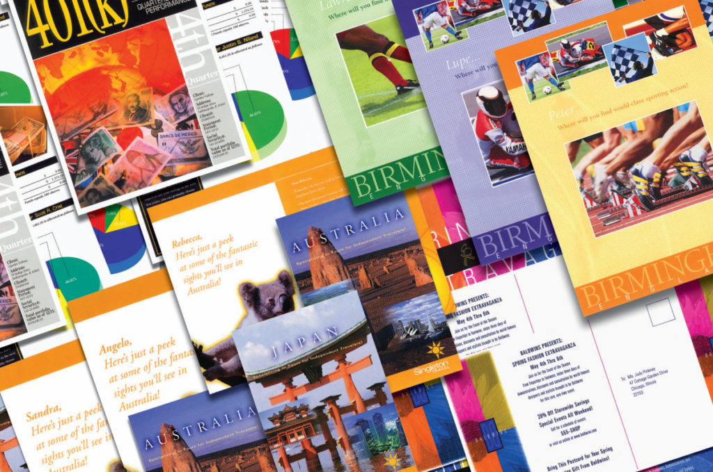 Brochures, postcards, flyers, posters, books, door hangers and and business cards - we handle it all
